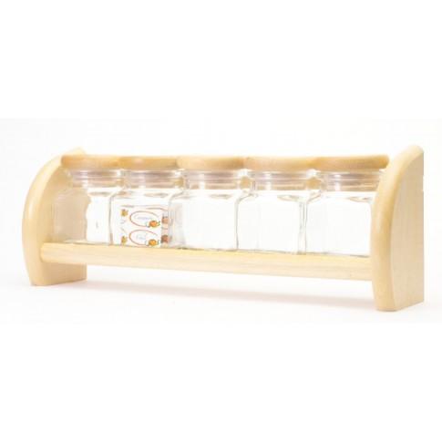 Set condimente + suport, lemn + sticla, 33 x 7 x 12 cm, 5 buc