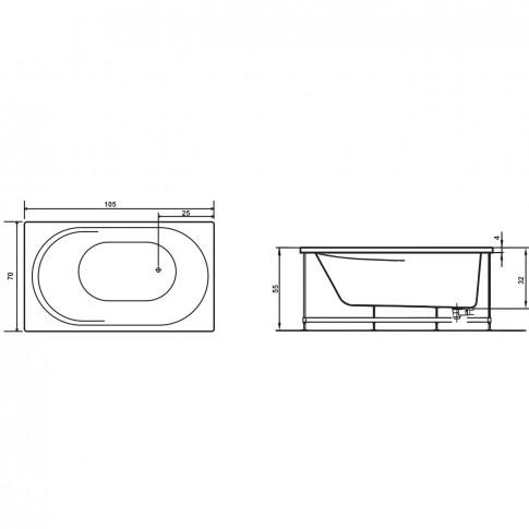 Cada baie rectangulara West Rose, acril, 105 x 70 cm