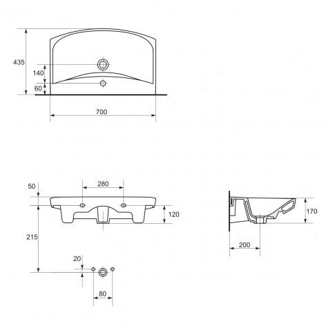 Lavoar Cersanit Carina K31-007, alb, dreptunghiular, 70 cm