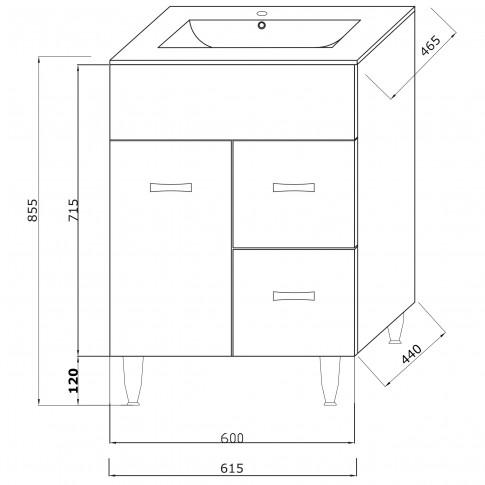 Masca baie + lavoar Savini Due Madrid 502, cu sertare si usa, alb, 61.5 x 46.5 x 85.5 cm