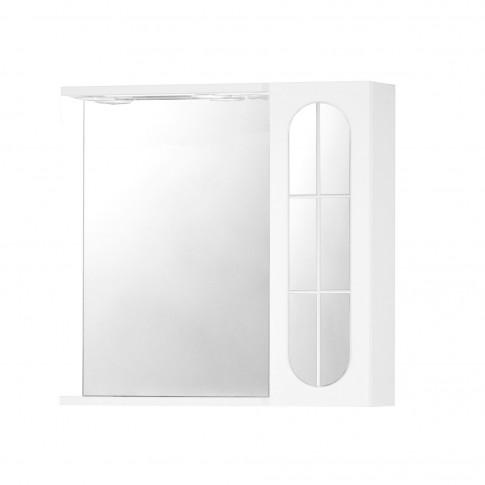 Dulap baie cu oglinda, iluminare si polita, dreapta, 1 usa, dreapta, Savini Due  938 H, alb, 58 x 15.5 x 57 cm