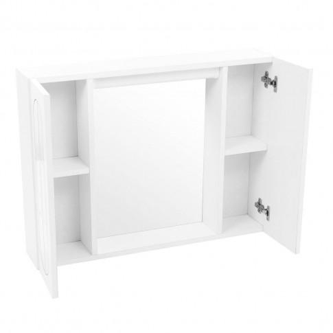 Dulap baie cu oglinda, iluminare si polita, 2 usi, Savini Due  940H, alb, 77 x 15.5 x 57 cm