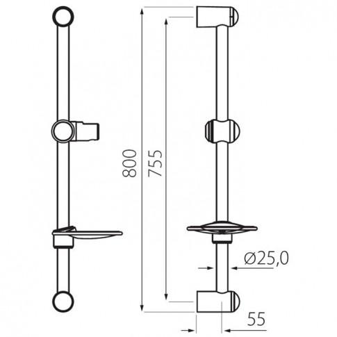 Set dus para + furtun + suport + savoniera + bara, Ferro N330, 3 functii, 1.5 m