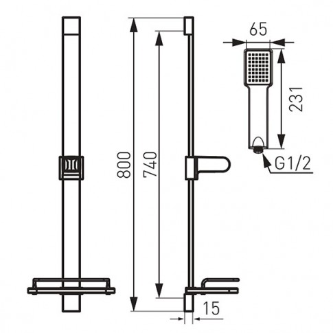 Set dus para + furtun + suport + raft + bara, Ferro Quadro N110B, 1 functie, 1.5 m