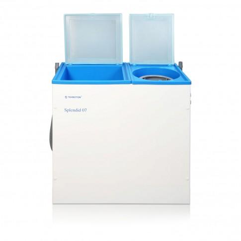 Masina de spalat rufe cu storcator semiautomata Tehnoton Splendid 07, 36 litri, 1.5 kg, alb cu albastru