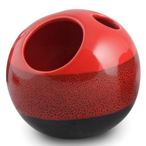 Suport periute dinti, Reds AWD02190986, ceramica, rosu / negru, 12.5 x 13 x 13 cm