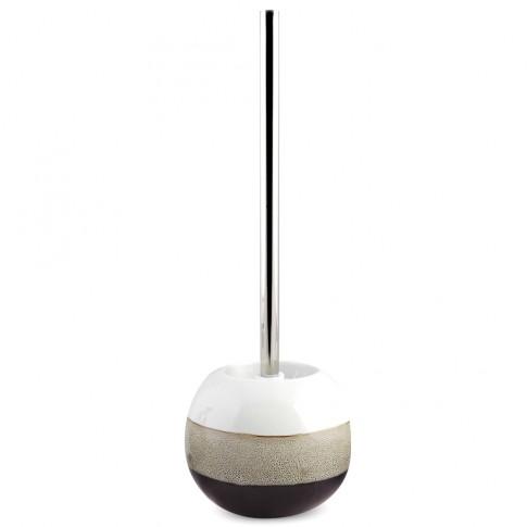 Perie WC  Mocca AWD02190984, ceramica, alb + negru + bej, 30 x 16 x 16.5 cm