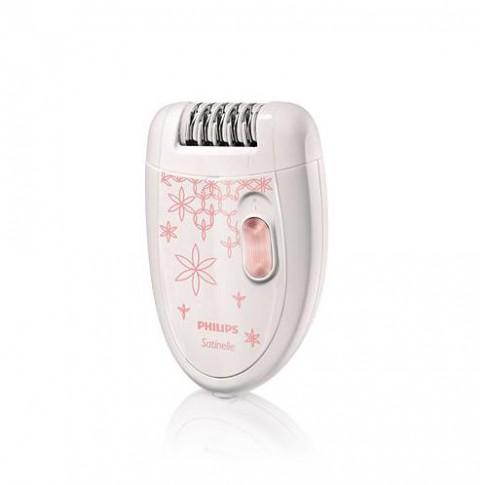 Epilator Philips HP6420/00, 21 discuri, 2 viteze, discuri metalice, cap de epilare lavabil, alb + roz
