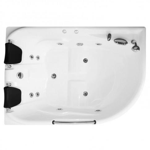 Cada baie 2 persoane, cu hidromasaj, asimetrica, pe colt, montaj stanga, Kadda Aisha, masca inclusa, acril, 168 x 120 cm
