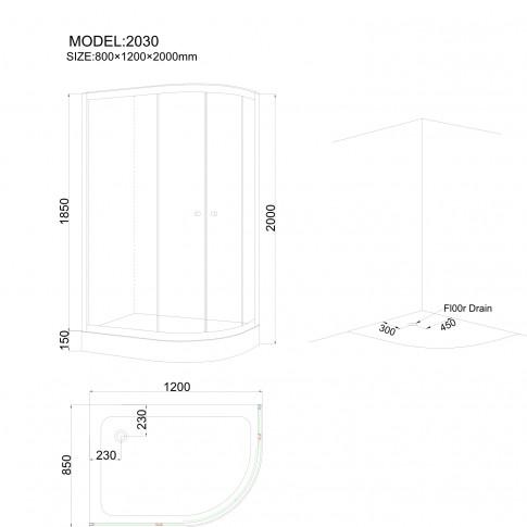 Cabina dus + cadita, asimetrica, montaj pe stanga, ANS - 2030 , 120 x 85 cm