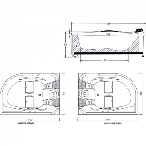 Cada baie asimetrica, varianta montaj pe dreapta, Aisha, masca si suport incluse, acril, 168 x 120 cm