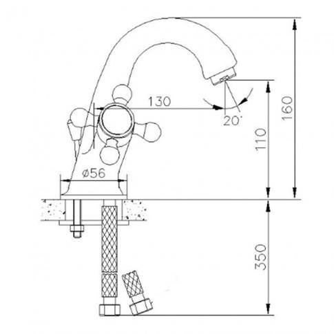 Baterie baie pentru lavoar, Sydney Bronze BMY1107-2, montaj stativ, dubla comanda, finisaj bronz