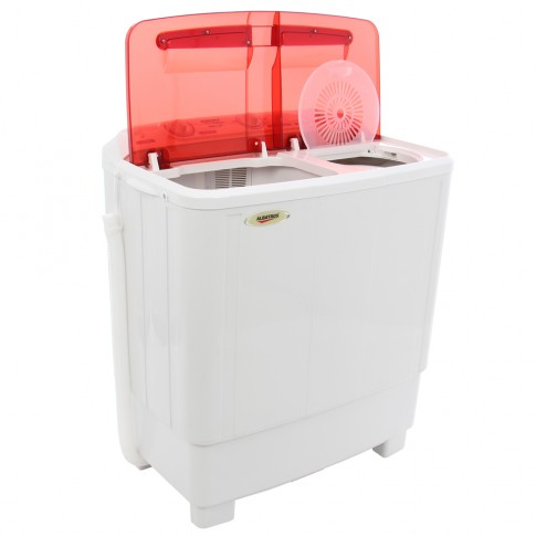 Masina de spalat rufe semiautomata Albatros WMS 7.2R, 50 litri, spalare 6.8 kg, stoarcere 5.5 kg, alb cu rosu + cadou