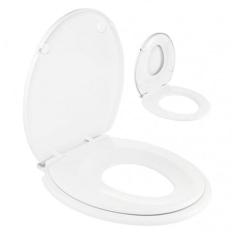 Capac WC din polipropilena, cu adaptor pentru copii Wirquin Family 20719572, alb, inchidere lenta, 385 x 440 mm