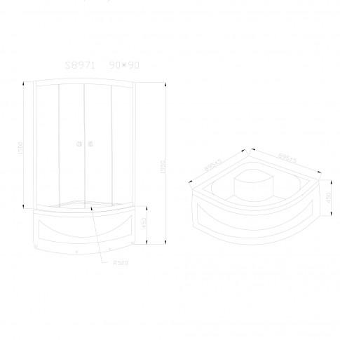 Cabina dus + cadita semirotunda S8971, cadita inalta, 90 x 90 x 195 cm