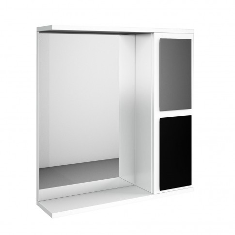 Dulap baie cu oglinda, cu polita, 1 usa, Martplast Kuadra, negru / gri, 65 x 84  x 13.6 cm