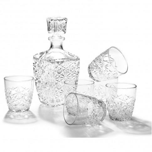 Pahare + sticla whisky, Dedalo, din sticla, 790 + 260 ml