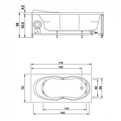 Cada baie cu hidromasaj rectangulara, West Sonia, acril, 170 x 70 cm