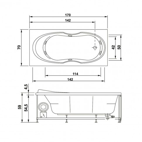 Cada baie rectangulara West Sonia, acril, 170 x 70 cm