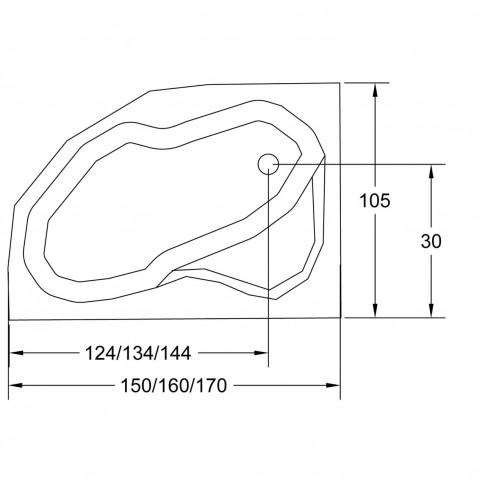 Cada baie cu hidromasaj, asimetrica, pe colt, montaj pe dreapta, West Carina, masca inclusa, 170 x 105 cm