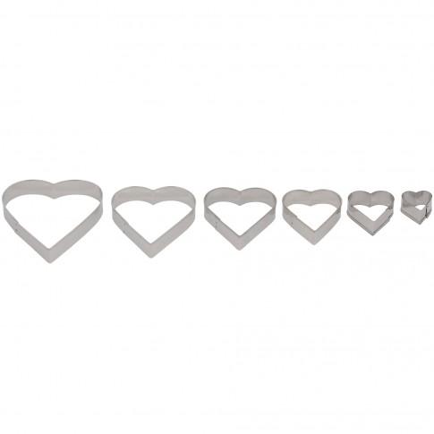 Set 6 forme pentru prajituri AB28, forma inima, otel inoxidabil, dimensiuni diferite