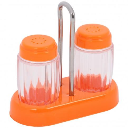 Set 2 recipiente pentru sare si piper AB45, PVC, 12 x 6 x 12 cm, diverse culori