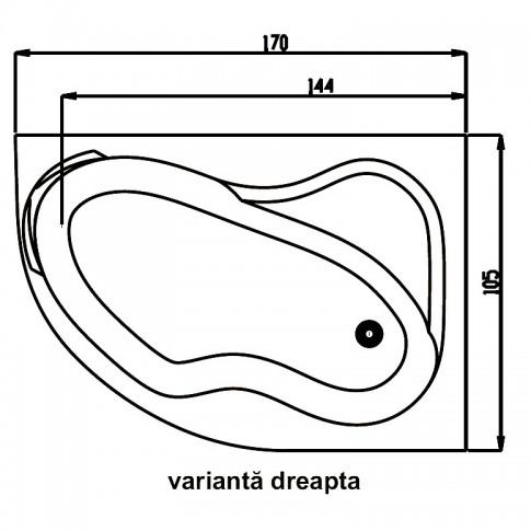Cada baie asimetrica, varianta montaj pe dreapta, Carina, masca si suport incluse, acril, 170 x 105 cm
