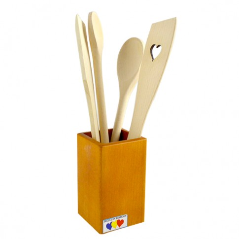 Linguri lemn, cu suport 4003, 7.5 x 7.5 x 31 cm, 5 buc