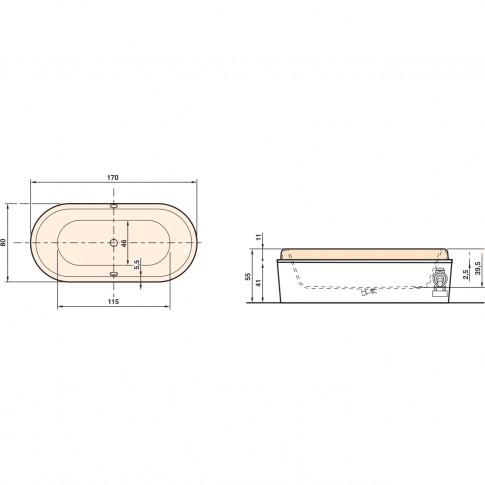 Cada baie ovala West Briseide, acril, 170 x 80 cm
