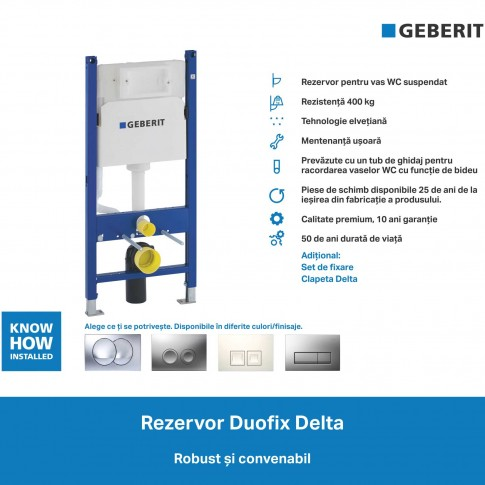 Rezervor WC, incastrat, Geberit Duofix Delta 111.153.00.1, 3 / 7.5 L, 50 x 112 cm