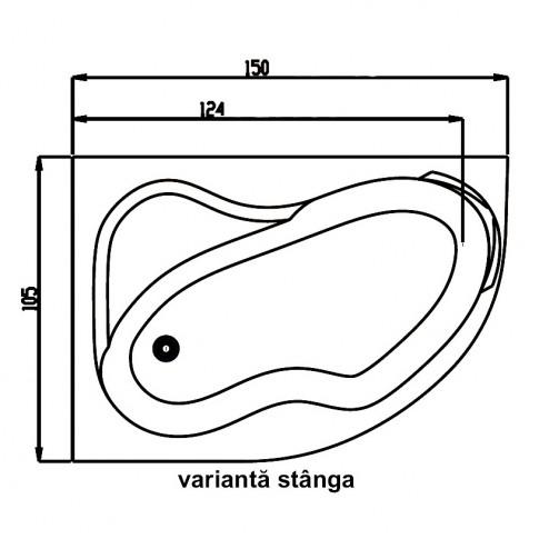 Cada baie asimetrica, varianta montaj pe stanga, Carina, masca si suport incluse, acril, 150 x 105 cm