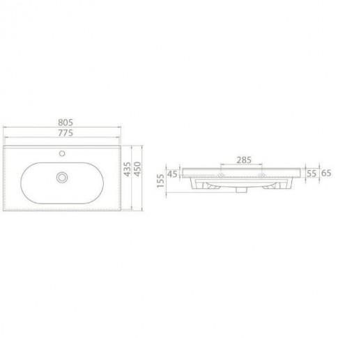 Lavoar Argos 0080AR-A, alb, dreptunghiular, 80 cm