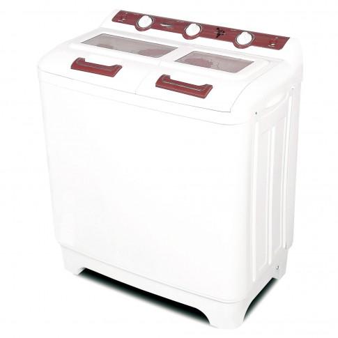 Masina de spalat rufe semiautomata Albatros WMS 10.0, 70 litri, spalare 10 kg, stoarcere 6 kg, alb cu rosu