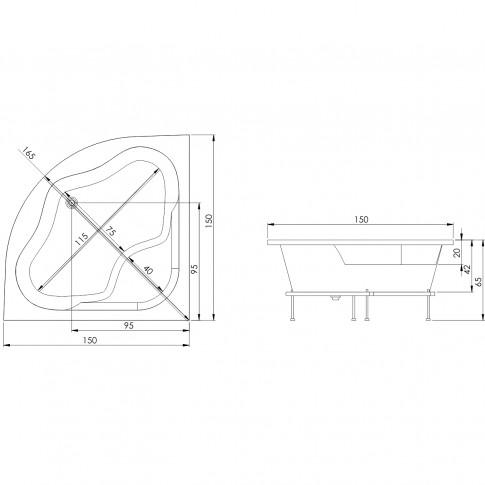 Cada baie simetrica pe colt, Royal, masca si suport incluse, 150 x 150 cm