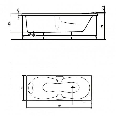 Cada baie cu hidromasaj rectangulara, Andra, masca inclusa, acril, 150 x 76 cm