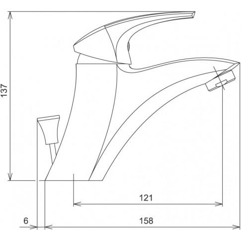 Baterie baie pentru lavoar, Ferro Metalia 57 57002/1.0, montaj stativ, monocomanda, finisaj cromat