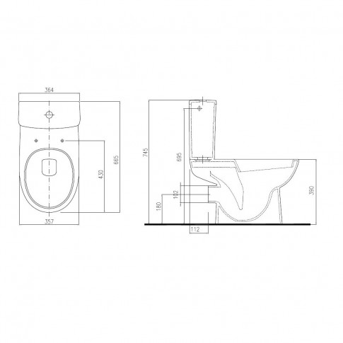Set vas WC + rezervor + mecanism + capac Nova Pro M39020, ceramica, 66.5 x 74.5 x 36.4 cm