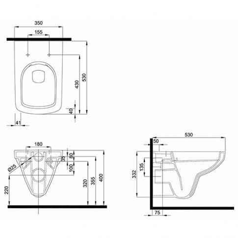 Vas WC suspendat Kolo Nova Pro Rimfree M33123, alb, cu evacuare orizontala