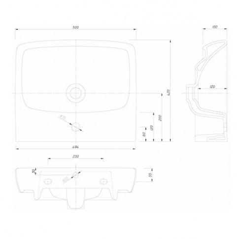 Lavoar Nova Pro M31151, alb, dreptunghiular, 50 cm