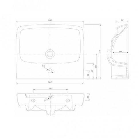 Lavoar Nova Pro M31156, alb, dreptunghiular, 55 cm