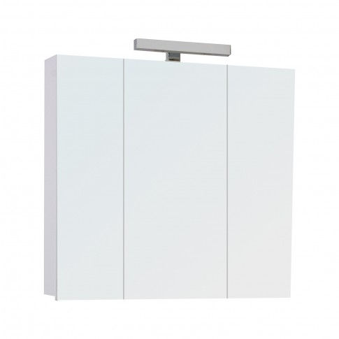 Dulap baie cu oglinda si iluminare, 3 usi, Savini Due Fly, 77 x 16 x 71 cm