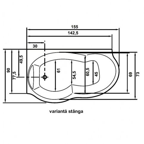 Cada baie cu hidromasaj, asimetrica, pe colt, montaj stanga, West Ariana, masca inclusa, 155 x 90 cm