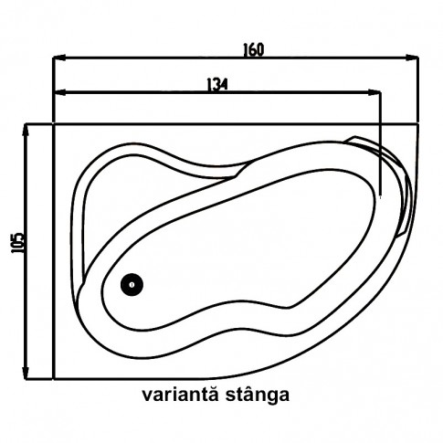 Cada baie asimetrica, varianta montaj pe stanga, Carina, masca si suport incluse, acril, 160 x 105 cm