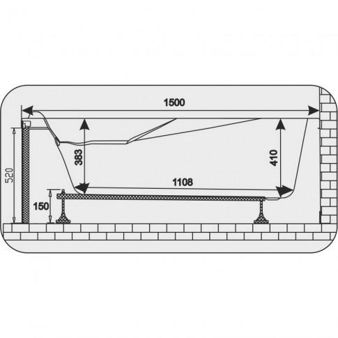Cada baie cu hidromasaj asimetrica, pe colt, montaj pe dreapta, Martplast Sofia, acril, 150 x 100 cm