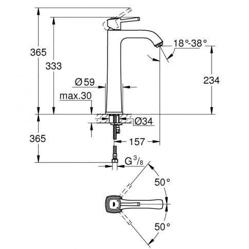 Baterie baie pentru lavoar, Grohe Grandera 23313000 XL, montaj stativ, monocomanda, finisaj cromat