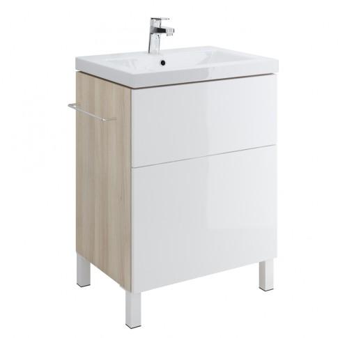 Masca baie pentru lavoar, Cersanit Smart S568-018, cu sertare, alb / frasin, montaj suspendat, 60 x 45 x 67 cm