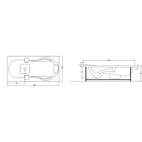 Cada baie cu hidromasaj, aeromasaj, cromoterapie, rectangulara, Tania, acril, 185 x 90 cm, baterie inclusa