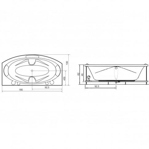 Cada baie rectangulara West Angelica, masca frontala si suport incluse, acril, 180 x 100 cm