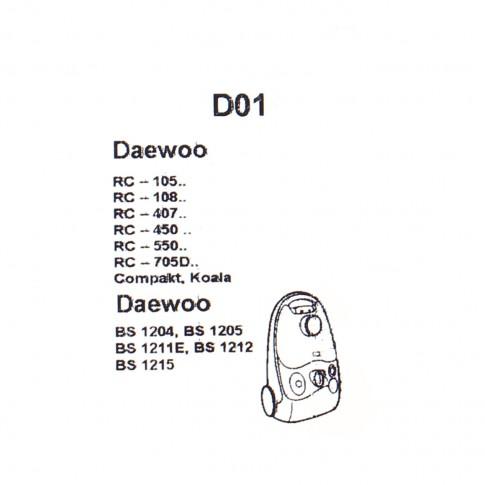 Saci aspirator Daewoo RC 105/407/705, hartie, pachet 5 bucati