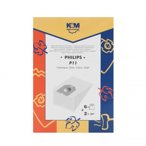 Saci aspirator Philips Oslo, hartie, pachet 6 bucati + 2 filtre